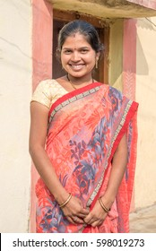 SALUNKWADI, INDIA - November 14, 2016: Indian Hindu woman in traditional cloth, peoples daily lifestyle in rural village Salunkwadi, Ambajogai, Beed, Maharashtra, India, South East Asia.