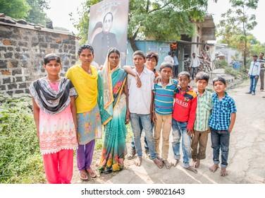 SALUNKWADI, INDIA - November 14, 2016: Indian Hindu peoples in traditional cloth, peoples daily lifestyle in rural village Salunkwadi, Ambajogai, Beed, Maharashtra, India, South East Asia.