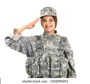 Saluting female soldier on white background
