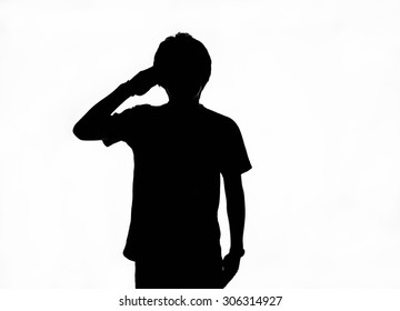 Saluting man silhouette