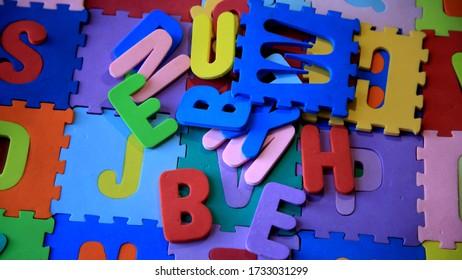 salvador, bahia / brazil - 05/16/2020: Rubberized children's EVA rug with letters of the alphabet.