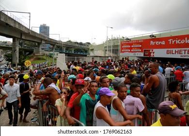 salvador, bahia / brazil - april 20, 2015: Esporte Clube Bahia fans face the queue to buy tickets at the Fonte Nova Arena in the city of Salvador, for the Bahia Football Championship match.
