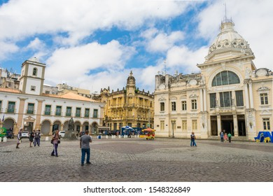 Salvador - Bahia, Brazil - Circa September 2019: A view from Tome de Souza Square with the Municipal Chamber building and the Rio Branco Palace, colonial buildings in the historic center of Salvador
