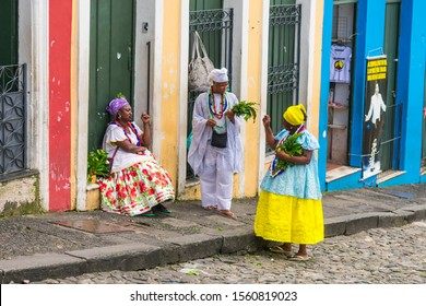Salvador, Bahia, Brazil - Circa September 2019: Faith healers (Benzedeiras/Benzedeiros) at Pelourinho Square - there are many in historic center of Salvador offering blessings to tourists