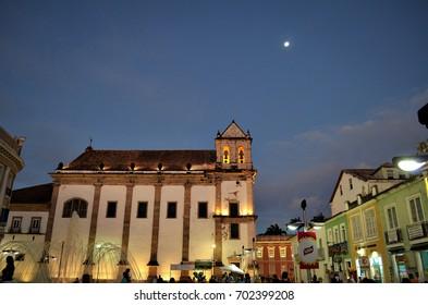 Salvador, Bahia, Brazil - December 22, 2015: Praça da Sé and highlighting the Cathedral Basilica.
