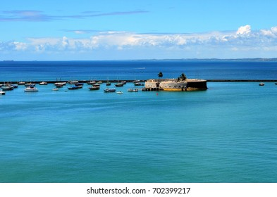 Salvador, Bahia, Brazil - December 22, 2015: View of the Bay of All Saints with the Fort of São Marcelo highlighted.