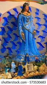 SALVADOR, BAHIA, BRAZIL - February 02, 2017:  Iemanja statue during Rio Vermelho Festival