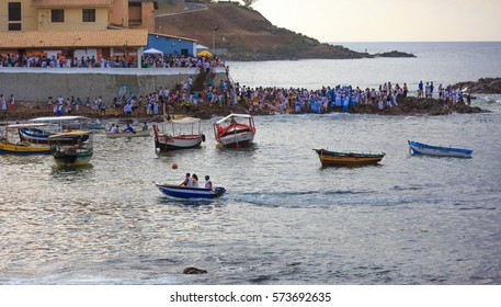 SALVADOR, BAHIA, BRAZIL - February 02, 2017: Iemanja party with people celebrating the festival of the Queen of the Sea