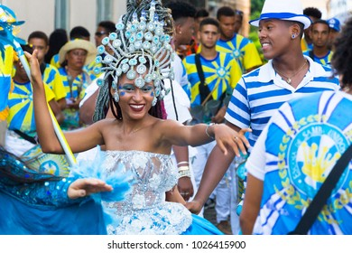 Salvador Bahia, Brazil - February 12th, 2018: Portrait of a woman dancer's parade. People are celebrating with revelers the Carnival on the streets of the UNESCO-recognized Pelouinho district.