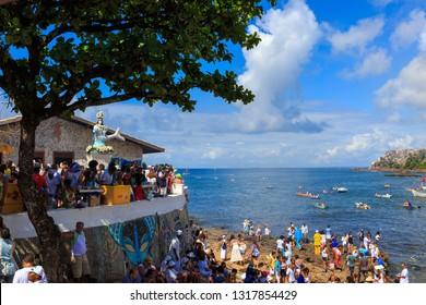 SALVADOR, BAHIA, BRAZIL - FEBRUARY 2, 2019: Yemanja Party, Goddess of the Sea, Afro-Brazilian Festival, Rio Vermelho Salvador.