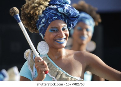 SALVADOR, BAHIA / BRAZIL - February 2, 2017: Dida Band members, percussionists are formed by women, seen during performance in the city of Salvador (BA).