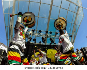 Salvador, Bahia, Brazil. February 2019. Presentation of the Olodum percussion group.