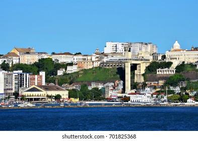 Salvador, Bahia, Brazil February 27, 2013: Lacerda Elevator and Mercado Modelo seen from the sea.