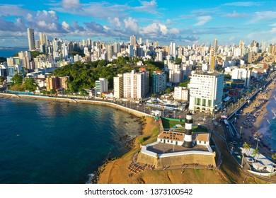 SALVADOR, BAHIA, BRAZIL - MAR 8, 2019: Aerial view of Salvador da Bahia cityscape, Barra and lighthouse.