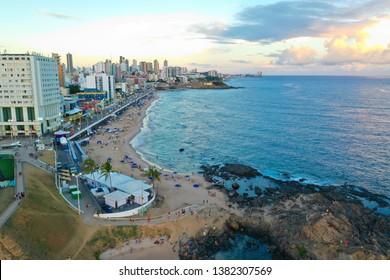 SALVADOR, BAHIA, BRAZIL - MAR 8, 2019: Aerial view of Salvador da Bahia cityscape, Barra and lighthouse