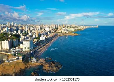 SALVADOR, BAHIA, BRAZIL - MAR 8, 2019: Aerial view of Salvador da Bahia cityscape, Barra lighthouse