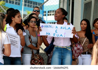salvador, bahia / brazil - may 20, 2016: Students from the Faculty of Technology and Sciences (FTC) are seen during a demonstration asking for safety at the unit in the city of Salvador.