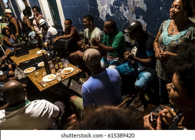 Salvador, Bahia, Brazil - October 28, 2016: Neighborhood party in the popular neighborhood of Pelourinho