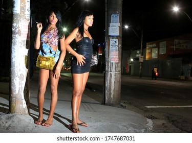 salvador, bahia / brazil - october 5, 2015: a transvestite who acts as a prostitute is seen on the street in the Roma neighborhood in the city of Salvador.
