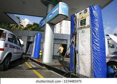 SALVADOR, BAHIA / BRAZIL - October10, 2014: Vehicle is seen during filling with vehicular natural gas - CNG - at a gas station in the municipality of Salvador (BA) (Joa Souza).