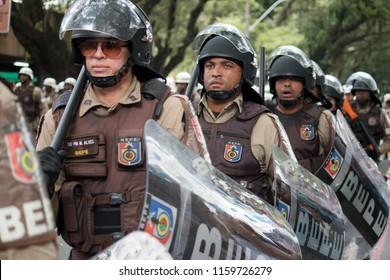 Salvador, Bahia, Brazil - September 7, 2017 - Military police of shock during the civic parade of September 7 in Salvador Bahia