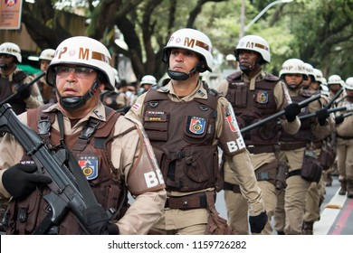 Salvador, Bahia, Brazil - September 7, 2017 - Soldiers of the military police of Bahia during the civic parade of September 7 in Salbador Bahia