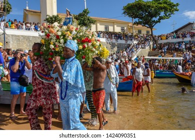 Salvador, Brazil - 2 February 2019: people during the celebration of Yemanja at Salvador Bahia on Brazil