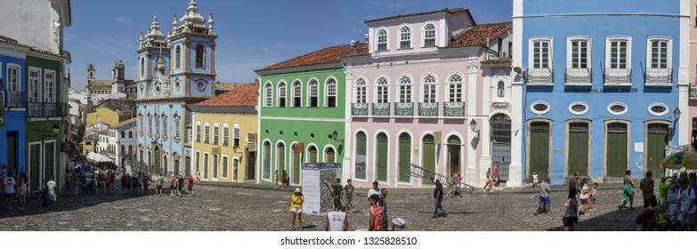 Salvador, Brazil - 3 February 2019: the historic district of Pelourinho in Salvador on Brazil