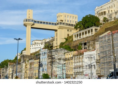 Salvador, Brazil - 3 february 2019: View of Lacerda Elevator from lower city in Salvador Bahia on Brazil