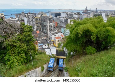 Salvador, Brazil - 5 february 2019: funicular from lower city to Pelourinho on Salvador Bahia in Brazil