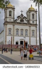 Salvador, Brazil - 5 February 2019: people visiting Bonfim church at Salvador Bahia on Brazil