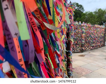 Salvador - Brazil August 9, 2019. Lord of Bonfim ribbon, saint protector of Bahia