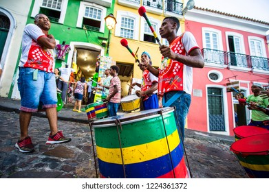 SALVADOR, BRAZIL - CIRCA MARCH, 2018: A group of roving Brazilian drummers play together in a social project that aims to improve the lives of young people in the local Pelourinho community.