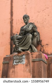 Salvador, Brazil - Circa September 2019: Statue of Hippocrates at the old building of School of Medicine of Bahia