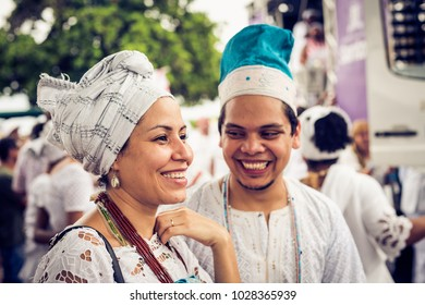 Salvador, Brazil. February 18, 2018. Brazil. Couple of devotee of Iemanja smiling during the Iemanja procession.