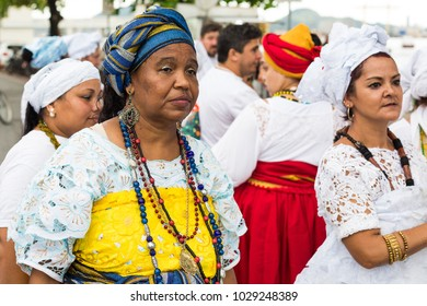 Salvador, Brazil. February 18, 2018. Holy Mothers on the feast of Iemanja, the queen of the sea, Bahia, Brazil.