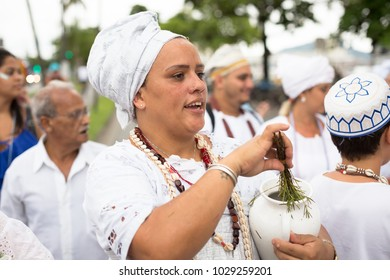 Salvador, Brazil. February 18, 2018. Holy Mother on the feast of Iemanja with lavender water to bless the faithful, Bahia, Brazil.