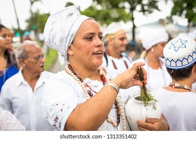 Salvador, Brazil. February 18, 2018. Brazil. Devotee of Iemanja during the Iemanja procession.