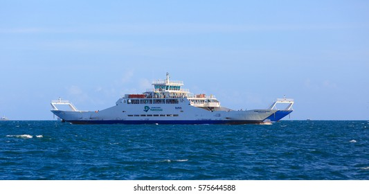SALVADOR, BRAZIL - JAN 31, 2017: Ferry Boat crossing from Salvador to Itaparica Island