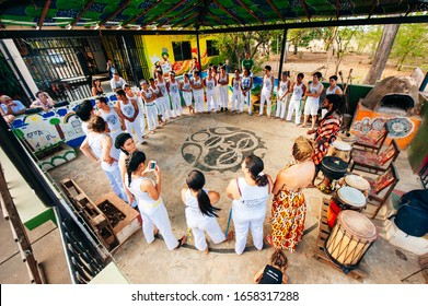 SALVADOR, BRAZIL - January 2019 Brazilian capoeira group performs for a crowd