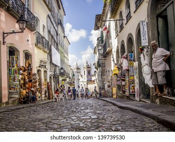 SALVADOR, BRAZIL - JULY 30: Horizontal image of Rua das Portas do Carmo in the historical center of Salvador, the capital of Bahia region in Brazil on July 30, 2012. Wide angle.