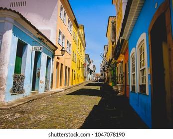 SALVADOR, BRAZIL - MARCH 16, 2011: Colorful buildings along the street in the Pelourinho (historic center) of Salvador