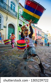 SALVADOR, BRAZIL - MARCH, 2018: Performers from the Swing do Pelo drumming group, a social project improving the lives of local impoverished young people, performs in historic Pelourinho.