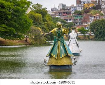 SALVADOR, BRAZIL - Nov 16, 2015: Iemanja Orixa Statue of Candomble traditional African saints in Dique do Tororo - Salvador, Bahia, Brazil