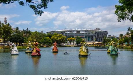 SALVADOR, BRAZIL - Nov 16, 2015: Orixas Statues of Candomble traditional African saints in front of Arena Fonte Nova Stadium in Dique do Tororo - Salvador, Bahia, Brazil