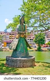 SALVADOR, BRAZIL - Oct 20, 2017: Iemanja Orixa Statue of Candomble traditional African saints in Dique do Tororo - Salvador, Bahia, Brazil