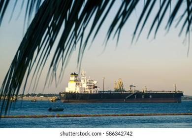 Salvador, Brazil - October 25, 2016: Industry in Todos los Santos Bay in Salvador de Bahia Brazil