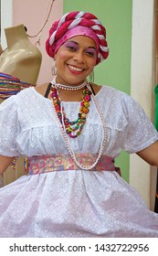 Salvador Brazil on August 30, 2013. A traditional Baiana woman in traditional clothing.