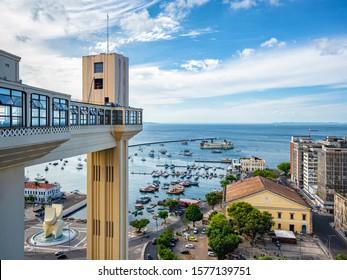 Salvador da Bahia, Brazil, view of Lacerda Lift and Bay of All Saints (Portuguese: Baia de Todos os Santos) on a beautiful sunny day.