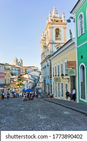 Salvador de Bahia, Bahia, Brazil, 02/12/2020, Salvador de Bahia, Pelourinho view with colorful buildings, Brazil, South America